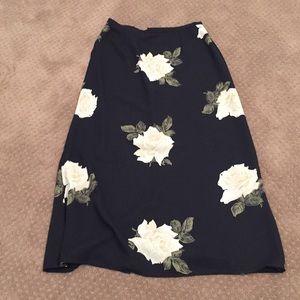 Navy Floral Sheer Skirt